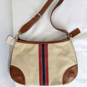Coach shoulder bag brown leather beige canvas New